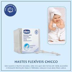 Da série: Cuidados com o bebê!  A limpeza da orelha dos bebês deve ser feita com uma haste flexível umedecida.  Mas atenção: não aprofunde muito, é totalmente contra indicado no conduto auditivo, pois essa região tem a pele muito delicada, sofrendo com qualquer agressão física. A higiene externa deve ser feita após o banho com uma toalha delicada, diariamente.  As Hastes Flexíveis Chicco são suaves e muito seguras, uma vez que são feitas em 100% algodão e possuem proteção para o tímpano.