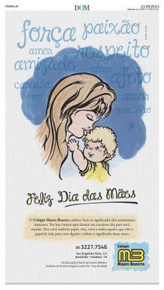 Anúncio para o Colégio Mauro Bezerra no Jornal O POVO em Fortaleza l Caderno DOM.  Feliz Dia das Mães