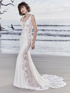 Sottero and Midgley by Maggie Sottero Sheer lace and lace motifs comprise the side insets, statement back, and statement train in this Vesna Crepe sheath wedding dress, creating Lace Wedding Dress, Wedding Bridesmaid Dresses, Perfect Wedding Dress, Designer Wedding Dresses, Bridal Dresses, Wedding Gowns, Dress Lace, Rose Wedding, Mermaid Wedding