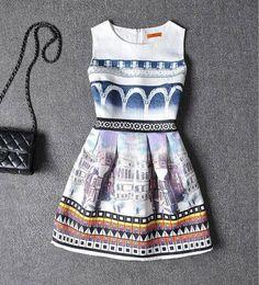Casual A-Line Printed Dress Gender: Women Waistline: Natural Decoration: Zippers…