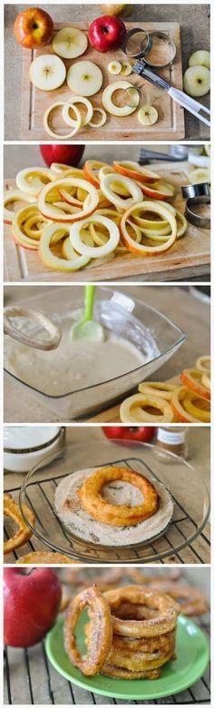 Aritos de manzana en tempura. Toque de azucar después de freir.