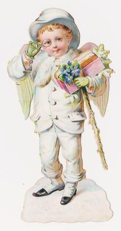 Victorian Die Cut Scrap, White Angel with Glasses