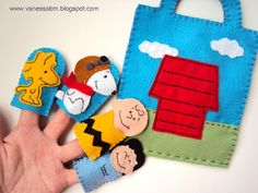 Peanuts felt finger puppets and carrier by Vanessa Biali