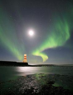 Iceland Aurora Borealis & lighthouse