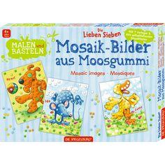 Bastelspaß mit kleinen Mosaikteilchen. Im Set enthalten sind sieben Vorlagen und 600 Moosgummi-Teilchen in sechs verschiedenen Farben.