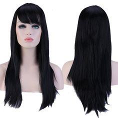 전체 머리 가발 60 센치메터 긴 직선 패션 천연 검은 머리 가발 경사 앞머리 여성 높은 내열 TW067