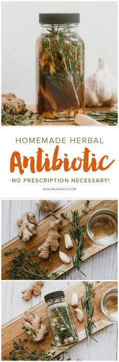 The next time you come down a pesky cold, reach for this homemade herbal antibiotic made with antibacterial, antiviral, and anti-fungal herbs and roots. Natural Health Remedies, Herbal Remedies, Natural Cures, Herbs For Health, Health Tips, Feeling Under The Weather, Glass Jars With Lids, Natural Antibiotics, Medicinal Herbs