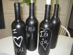 wine bottles painted with blackboard paint