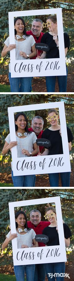This graduation party (or any party) DIY is so easy! Just make a frame out of poster board, personalize it, then add some fun selfie props and voila, instant photo booth – smile.