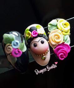 frida khalo nail design , frida kahlo nail design frida khalo nail design ,… in 2020 Funky Nail Art, Funky Nails, 3d Nail Art, Love Nails, Pretty Nails, 3d Acrylic Nails, 3d Nails, Simple Nail Designs, Beautiful Nail Designs