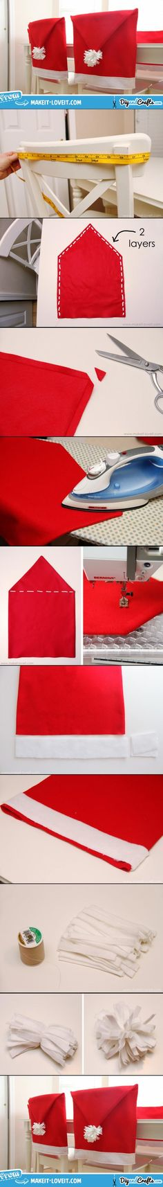 Santa Hat Chair Covers | DIY.  Use this same idea for the top of a holiday kitchen hanging dish towel.