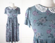 1990s Babydoll Dress / Vintage 90s Dress / Soft Grunge Dress / Peter Pan Collar Dress / Pastel Goth / Romantic Mini Dress / 90s Grunge Mini by BlueHorizonVintage on Etsy