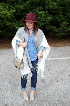 Fringe Cape Scarp via @Mae Nunez denim shirt, dark skinny jeans, schutz mules, burgundy felt hat, fall fashion, asos, gap, james jeans