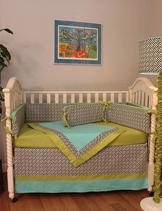 hoohobbers baby crib bedding in the maze black design collection elegantly combines maze-like lines of black against sage green and turquoise, creating a simple but dramatic crib