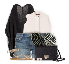 """""""Stripes & Denim"""" by colierollers ❤ liked on Polyvore featuring H&M, MANGO, Current/Elliott, K. Jacques, Jimmy Choo and Monica Vinader"""