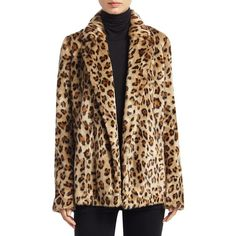 Theory Clairene Leopard Print Faux Fur Blazer (2 475 PLN) ❤ liked on Polyvore featuring outerwear, jackets, blazers, leopard blazers, faux leopard jacket, leopard print blazer, long sleeve jacket and open front jacket