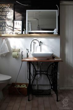 Bathroom vanity created from repurposed sewing machine and vessel sink Sewing Machine Tables, Old Sewing Machines, Sewing Table, Vessel Sink Vanity, Bathroom Vanity Units, Bathroom Sinks, Bathroom Ideas, Bathroom Flooring, Bathroom Furniture