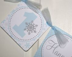 Winter Onederland High Chair Banner, Snowflake High Chair Banner, Winter Wonderland Banner (Blue & Grey) by The Party Paper Fairy