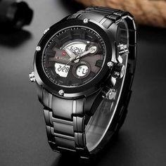 Fényes fekete óratok, a számlapon sötétszürke betéttel. A rozsdamentes szíj fekete, és kényelmes viselet biztosít. Smart Watch, Cool Stuff, Stuff To Buy, Watches For Men, Ale, Steel, Modern, Sports, Accessories