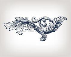 Vintage Baroque scroll design frame pattern element engraving retro style - 123rf