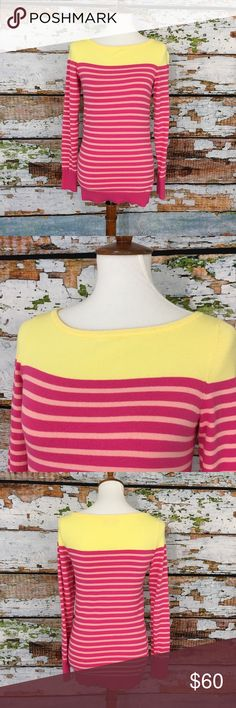 """Lilly Pulitzer Striped Colorblock Boatneck Sweater Lilly Pulitzer Maria boatneck sweater in Step by Step. Great condition, gently used.  Armpit to armpit: 17"""" Length: 25""""  80% cotton, 17% nylon, 3% spandex Lilly Pulitzer Sweaters"""