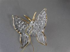 Set of 6 Gold & Glass Spun BUTTERFLY CHRISTMAS ORNAMENTS