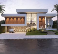 Ideas Exterior Facade House Architects For 2019 Modern House Facades, Modern Architecture House, Modern House Plans, Facade Architecture, Architecture Colleges, System Architecture, Modern Garage, Vintage Architecture, Architecture Awards