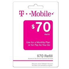 T-mobile $70 Prepaid Refill Card Monthly Plan / Pay As You Go No Annual Contract
