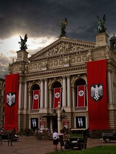 A shot displaying the brilliance that the red blood banners contribute to that in which they are hanged upon.