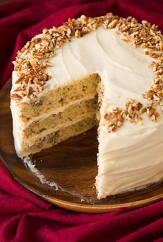 This cake is brimming with buttery pecan flavor. It's a perfectly soft, tender and moist cake. You will want to savor each and every bite. And finally, it's coated with a luscious cream cheese frosting!!