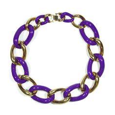 Enamel Chain Necklace Purple