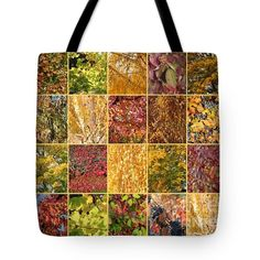 Warm Autumn Quilt Collage Tote Bag by Carol Groenen #totebags #autumnbags #autumn #uniquetotebags #fallleaves #autumntotebag #totebag #colorfultotebags