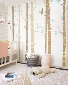 Birch Tree Wall Decal, Self Adhesive Decal, Nursery Large Tree Wall Decal, Large Tree Wall Decal, Birch and Owl Decal - NT004  #nursery #longtree #beige #owl #walldecal #decal #stickers