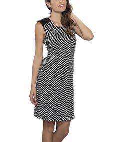 Loving this Black & White Zigzag Sleeveless Dress on #zulily! #zulilyfinds