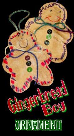 Gingerbread Boy Stuffed Ornament - trace, cut, glue, make a pattern ...