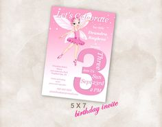 5X7 3rd Birthday party invite Invitation printable by Mazoria