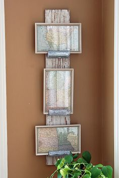 "Salvaged hardware ""things"" become a great way to display frames!  Get creative with random bits and pieces and you'll come up with something amazing like this!"