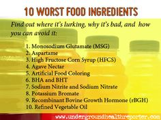 Top 10 Worst Food Ingredients to avoid.  Good reminder to eat a whole food diet and know what you are putting in your body!!  The agave sweetener on this list is a surprise to me!