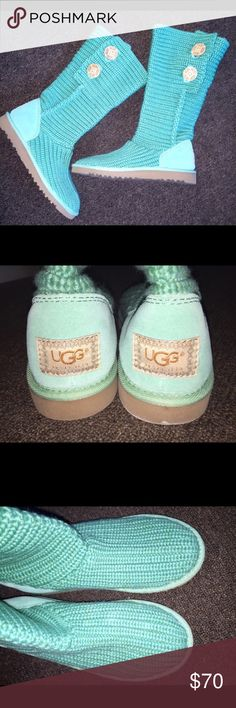 Knitted Uggs Mint green. Worn once. EUC UGG Shoes Winter & Rain Boots