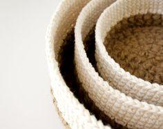 Stacking Baskets 3 PDF Crochet Patterns Jute and by JaKiGu