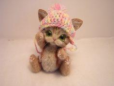 """Handmade Kitten by Kanzasi  4.2"""" tall"""