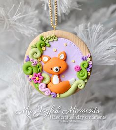Handcrafted Polymer Clay Fox Scene Ornament by MyJoyfulMoments Mais Polymer Clay Ornaments, Polymer Clay Christmas, Cute Polymer Clay, Polymer Clay Animals, Cute Clay, Fimo Clay, Polymer Clay Charms, Polymer Clay Projects, Polymer Clay Creations