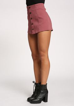 An essential skort to have in your wardrobe that features a button down closure. Detailed with a high rise waist and short back zipper closure. Has a layered front with attached shorts. Stunning Women, Beautiful, Junior Outfits, Skorts, Capri Leggings, Mauve, Cool Girl, Button Downs, Bodice