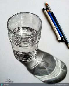 ... Glass Of Water Realistic Pencil Drawing by Hanna Asfour ...