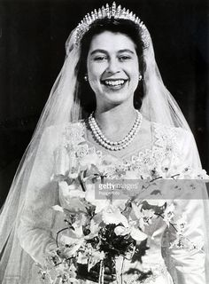 20th November 1947, Buckingham Palace, London, The wedding of Princess Elizabeth and the Duke of Edinburgh showing the Princess looking radiant after the wedding at Westminster Abbey  (Photo by Popperfoto/Getty Images)