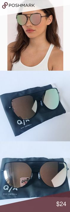 Quay Australia Santa Fe Sunglasses Quay Australia Santa Fe Sunglasses. Black frames with red mirrored lenses. Worn once. Has a small scratch on one of the lenses. (Shown in last picture) Comes with case. Quay Australia Accessories Sunglasses
