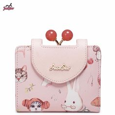 Just Star Brand Design Animal Printing Cherry Beads Frame PU Women Leather Girls Ladies Small Short Wallets Cards Holder Purse #Affiliate