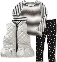 Amazon.com: Calvin Klein Baby Girls' 3 Pc Puffer Vest Set: Clothing
