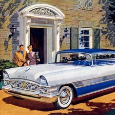 Detail Of Packard Four Hundred 1955 White Blue - Mad Men Art: The 1891-1970 Vintage Advertisement Art Collection