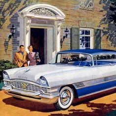Detail Of Packard Four Hundred 1955 White Blue